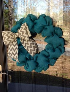 Turquoise and Chevron Burlap Wreath 22 inch for front door or accent - Teal, White, Grey - Spring, Easter, Summer www.etsy.com/shop/simplyblessedgift