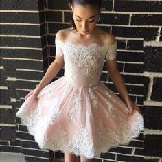 A-Line Off-the-Shoulder homecoming dresses , Appliques Short Pearl Pink Homecoming Dress , short prom dresses with white lace appliques