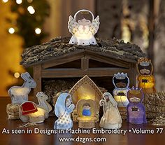 Nativity Flameless Tealight Covers set created by EmbroideryGarden.com for machine embroidery