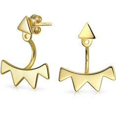 Bling Jewelry Golden Ear Triangles ($21) ❤ liked on Polyvore featuring jewelry, earrings, ear-cuffs, yellow, triangle earrings, triangle jewelry, ear cuff jewelry, christmas earrings and fringe earrings