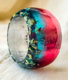 S size resin bangle. Mixed colors crystal resin. by PAGANEuniques