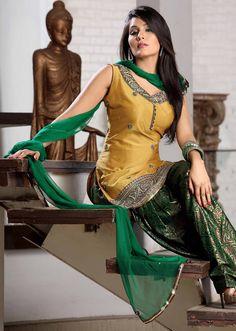 Golden and green color salwar kameez. See Now >> http://www.gravity-fashion.com/1334-golden-and-green-color-salwar-kameez.html