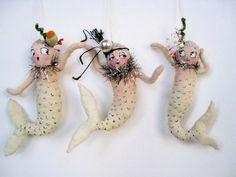 Ooak Spun Cotton Vintage Appeal Show Girl Mermaid Spring Tree Ornament
