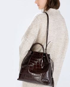 CROC LEATHER BUCKET BAG-Large handbags-Handbags-WOMAN   ZARA United States
