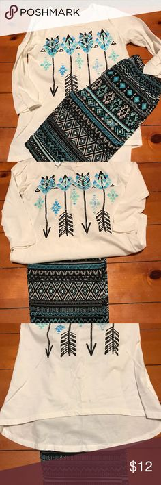 2 piece set Super cute leggings with matching 3/4 length sleeve shirt. Shirt is longer in back. Matching Sets