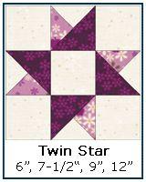 Twin Star quilt block tutorial, quarter & half square triangles