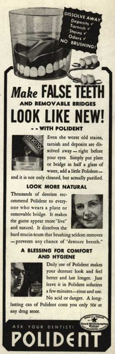 Hudson Product's false teeth powder (dentures) – Make False Teeth and removable bridges Look Like New (1938)
