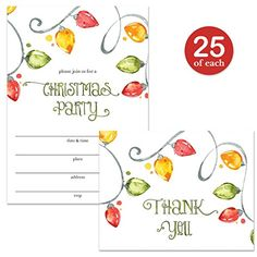 Christmas Party Invitations & Matching Thank You Cards Set with Envelopes ( 25 of Each ) Strings of Holiday Light Bulbs Festive Fill-in Guest Invites & Folded Thank You Notes Great Value Combination