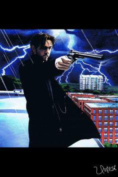 This is pretty much how I feel about Monday mornings... #art #painting #gun #lightning #rooftop