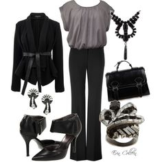 A fashion look from October 2011 featuring holiday tops, wrap coats and stretch pants. Browse and shop related looks. Grey Fashion, Work Fashion, Fashion Outfits, Cute Work Outfits, Pretty Outfits, Everyday Outfits, Autumn Winter Fashion, What To Wear, Style Me