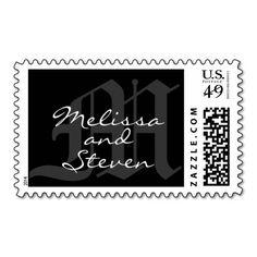 Monogram Wedding Black White Postage Stamp