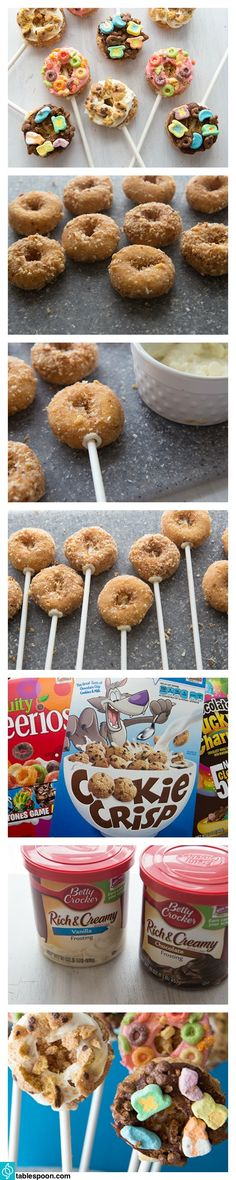 Ready-made frosting and favorite breakfast cereals turn little donuts into fun little no-bake donut pops.