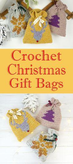 24675dd69ae Crochet Christmas Gift Bags Step by Step