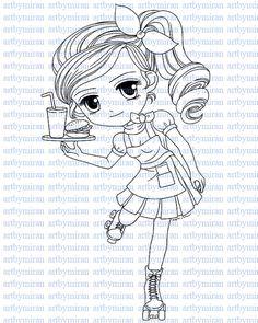 Digi Stamp-Sweet & Sassy(#4), Pretty Girl Digital Stamp ...