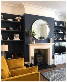 Dark Living Rooms, Living Room Colors, New Living Room, Living Room Designs, Living Room Decor, Mustard Living Rooms, Small Living, Modern Living, Living Room Yellow