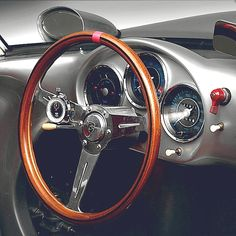 Cockpit | 550 Spyder  1955 Porsche 550 Spyder | Open Top Sports Car | Based of the racing 550 RS | Rennsport | 1.5L Type 547 B4 110 HP | Top Speed 220 kph 137 mph | Only 78 units were produced  The 550 was produced by Porsche from 1956 -1958 | The Werks cars were provided with differently painted tail fins to aid recognition from the pits | One of the most famous 550 Spyder was James Dean's Little Bastard