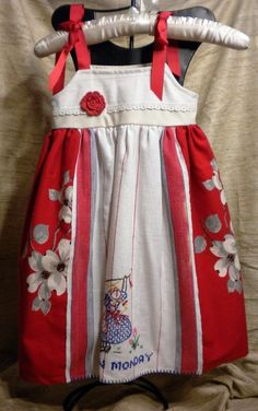 Vintage Linen Red Themed Dress Size 2t to by VintageLinenClothing, $35.00