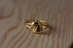 Small Gold Unicorn Ring by diamentdesigns on Etsy