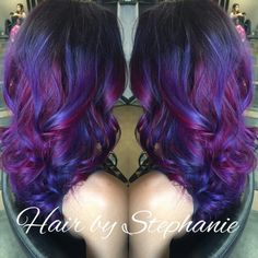 Blue purple mermaid blue and pink and dark purple lovvve my hair