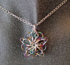 Handmade Chainmaille Sterling Silver and Niobium Celtic Star Pendant