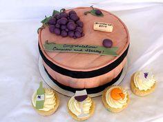 Wine Barrel Cake and cupcakes