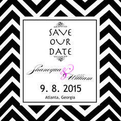 Elegant save the date announcement.  Perfect if you love black and white #chevron #savethedate #dreamwedding