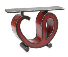 Red Sway Console Table Modern Entry Table