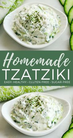 Made with Greek yogurt, this tzatziki sauce perfectly compliments all your favorite Mediterranean dishes! It's gluten-free, high-protein and irresistibly delicious! Made with Greek yogurt. Add a tsp minced garlic. Any other light colored vinegar works Tzatziki Sauce Recipe Greek Yogurt, Homemade Tzatziki Sauce, Tzatziki Recipes, Greek Yogurt Recipes, Cucumber Recipes, Homemade Sauce, Greek Taziki Sauce, Tatziki Sauce Recipe, Antipasto