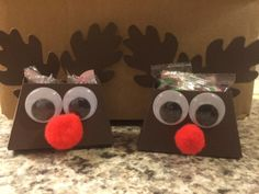 rudolph petite purse - frances paula spina, These are sooo cute. I saw them somewhere and had to copy. Petite purse die(CUT OFF FLAP) and Autumn Accents die for ears.remember Rudolph save Christmas, HO HO HO. Fill them with candy. YUM