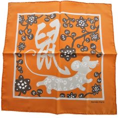This is an authentic HERMES Silk L Annee du Rat Pocket Square Scarf.   This is a very delightful scarf that features a lovable rat with Chinese characters.