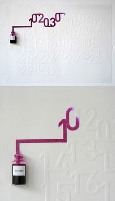 """Ink Calendar designed Oscar Diaz .The ink will slowly color each day of the month as time passes by."""