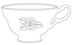 vintage tea cup digital stamp free digital cut files