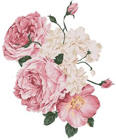 New-XL-SoFt-FLuFfY-PinK-RoSeS-ShaBby-DeCALs-FuRNiTuRe-SiZe