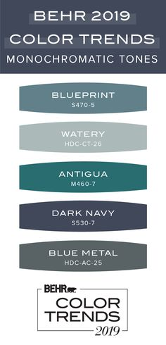 The Behr 2019 Color Trends collection is full of trending paint colors for your home. From light pastel shades to dark jewel tones, these color palettes fit in with a variety of interior design styles like traditional, mid-century modern, farmhouse-chic, Farmhouse Paint Colors, Exterior Paint Colors For House, Paint Colors For Home, Exterior Colors, Paint Colours, Siding Colors, Neutral Colors, Paint Colors With White Trim, Wall Colors