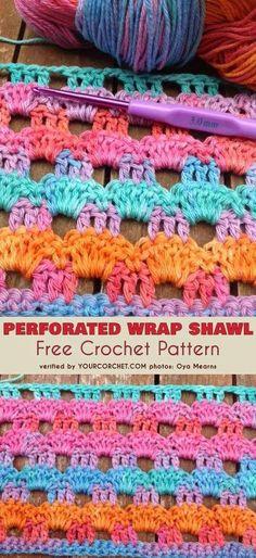 Perforated Wrap Shawl Free Crochet Pattern #freecrochetpatterns #crochetstitch #crochetshawl
