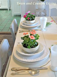 Spring table setting in our cottage style farmhouse dining room
