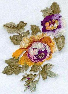 Embroidery Roses Machine Embroidery Designs at Embroidery Library! Sewing Machine Embroidery, Crewel Embroidery, Embroidery Thread, Beaded Embroidery, Bordado Floral, Thread Painting, Brazilian Embroidery, Satin Stitch, Embroidery Techniques