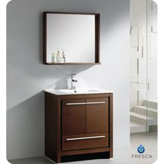 Fresca Allier 30-inch Wenge Brown Modern Bathroom Vanity with Mirror - Overstock™ Shopping - Great Deals on Fresca Bathroom Vanities