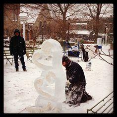 Ice carving at the Ligonier Ice Fest on January 25, 2014 (photo by Jennifer Sopko)