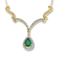 Natural Emerald Necklace 1/8 ct tw Diamonds 14K Yellow Gold