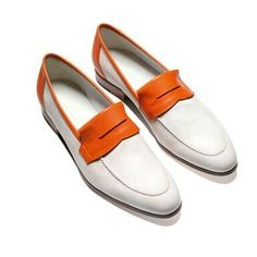 John Lobb - cream and orange #loafers