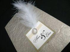 wedding invite - feathers