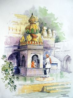 Gouache Sketch: Pune University Campus-Lalit Kala Kendra-Centre for Performing Arts Sketch Painting, Watercolor Sketch, Watercolor Landscape Paintings, Watercolour Painting, Ganesh Temple, Human Figure Sketches, Painting Corner, Human Painting, Composition Painting