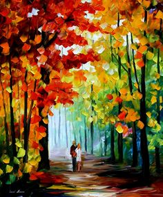 """MORNING IN THE WOODS — PALETTE KNIFE Oil Painting On Canvas By Leonid Afremov - Size 36""""x30"""""""