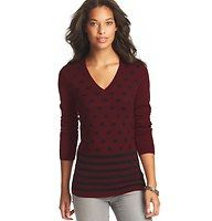 Petite Polka Dot and Stripe Front Sweater - Polka dots and stripes collide in an adorably offbeat combination to give this soft style its impossible-to-resist charm. V-neck. Long sleeves. Solid back. Ribbed neckline, cuffs and hem.