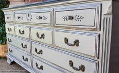 Dresser in distressed black and aspen gray with black glaze. Seven drawers with original pulls. From Facelift Furniture's Dressers collection. Old Furniture, Painted Furniture, Furniture Ideas, Dressers, Aspen, Glaze, Grey, Dresser Ideas, Collection