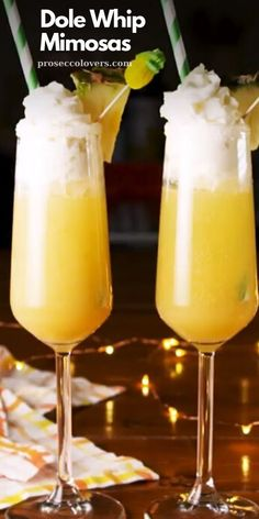 Whip Mimosas are the most magical drink on Earth. Get the recipe at Dole Whip Mimosas are the most magical drink on Earth. Get the recipe at Party Drinks, Cocktail Drinks, Fun Drinks, Cocktail Recipes, Alcoholic Drinks, Champagne Cocktail, Easter Cocktails, Disney Cocktails, Prosecco Cocktails