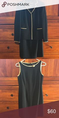 EUC Classy Ann Taylor dress and jacket This is the most beautiful suit I've owned. Just classy and gorgeous. Love it but it's too small now. Hope you will love it too!  NOTE: dress is 4P but jacket is a 2. Ann Taylor Dresses