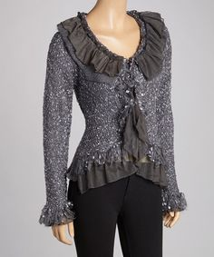 Take a look at this Dark Gray Ruffle Silk-Wool Blend Cardigan by Pretty Angel on #zulily today!