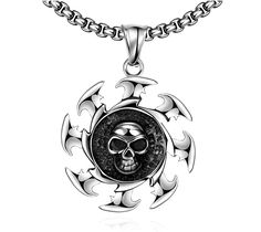 Stainless Steel Black Skull Shield Throw Pendant Long Chain Necklace